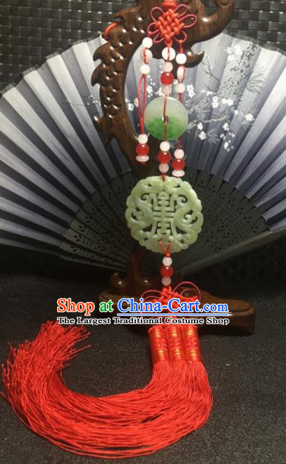 Traditional Chinese Hanfu Jade Carving Longevity Waist Accessories Red Tassel Pendant Ancient Swordsman Brooch