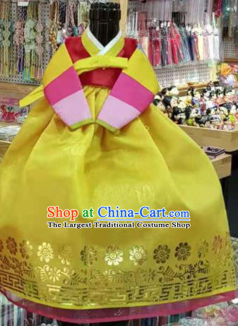 Traditional Korean Hanbok Clothing Red Brocade Blouse and Yellow Dress Asian Korea Ancient Fashion Apparel Costume for Kids