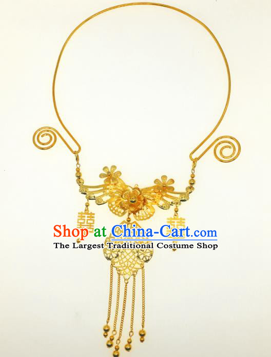 Chinese Traditional Hanfu Jewelry Accessories Ancient Tang Dynasty Princess Golden Butterfly Necklace for Women