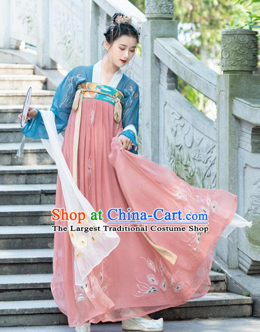 Traditional Chinese Tang Dynasty Imperial Consort Replica Costumes Ancient Court Princess Pink Hanfu Dress for Women