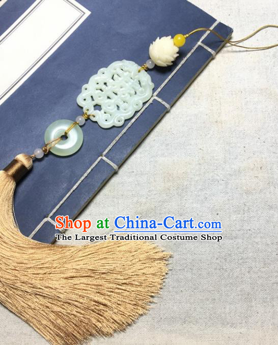 Traditional Chinese Hanfu Wedding Jade Carving Waist Accessories Tassel Pendant Ancient Swordsman Brooch
