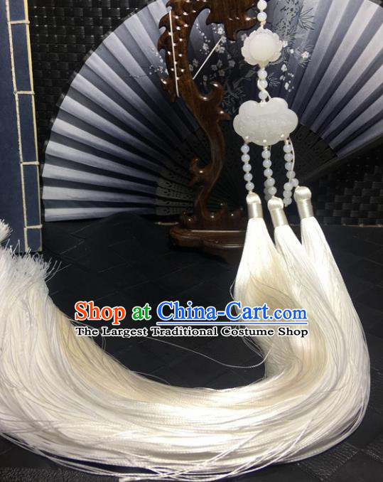 Traditional Chinese Hanfu Jade Carving Lotus Waist Accessories White Tassel Pendant Ancient Swordsman Brooch