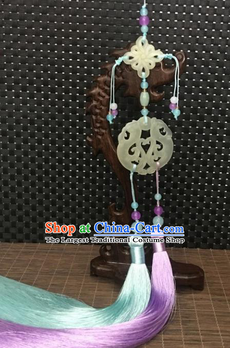 Traditional Chinese Hanfu Jade Carving Phoenix Waist Accessories Purple Tassel Pendant Ancient Swordsman Brooch