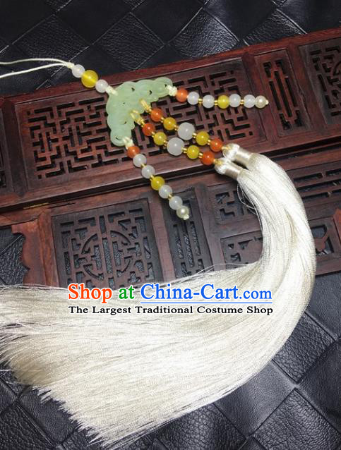 Traditional Chinese Hanfu Jade Carving Cloud Waist Accessories White Tassel Pendant Ancient Swordsman Brooch