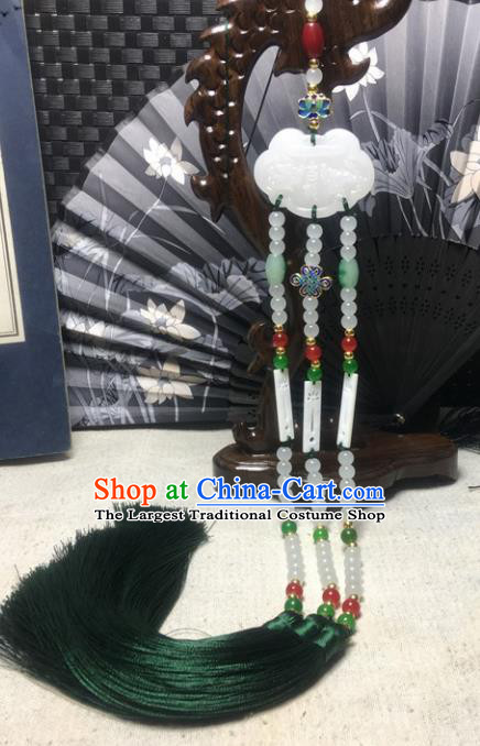 Traditional Chinese Hanfu White Jade Carving Waist Accessories Palace Green Tassel Pendant Ancient Swordsman Brooch