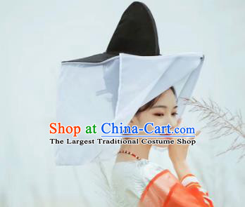 Chinese Traditional Hanfu Swordsman Hat Ancient Tang Dynasty Court Lady White Curtain Hat for Women