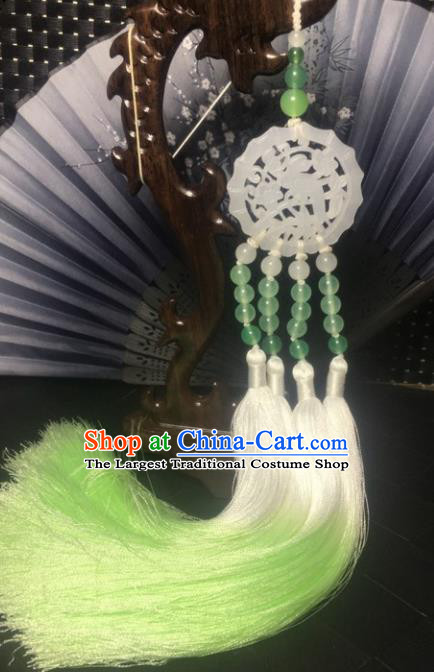 Traditional Chinese Hanfu Jade Carving Plum Waist Accessories Green Tassel Pendant Ancient Swordsman Brooch