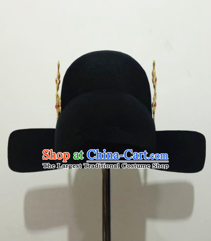 Chinese Traditional Handmade Ming Dynasty Minister Black Hat Ancient Drama Bridegroom Headwear for Men