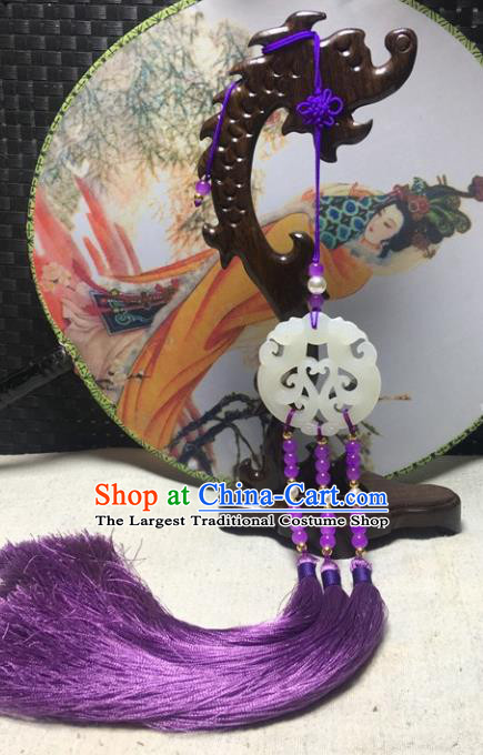 Traditional Chinese Hanfu Jade Carving Phoenix Waist Accessories Palace Purple Tassel Pendant Ancient Swordsman Brooch