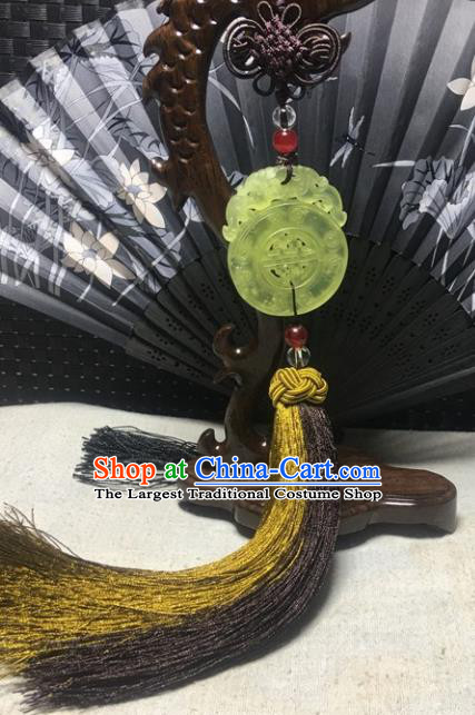 Traditional Chinese Hanfu Jade Carving Dragon Waist Accessories Palace Tassel Pendant Ancient Swordsman Brooch