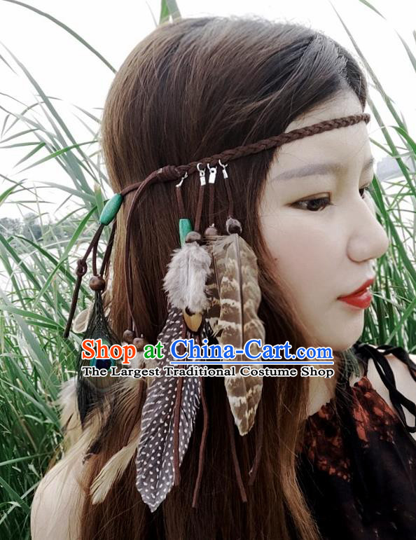 Chinese Traditional Ethnic Brown Leather Knitting Headband National Handmade Feather Hair Clasp for Women