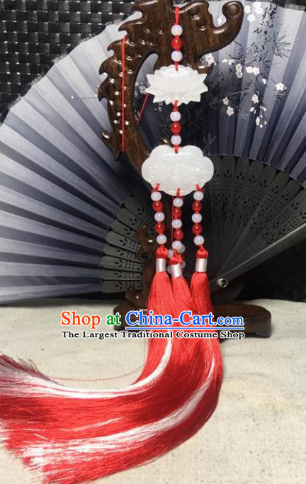 Traditional Chinese Hanfu Jade Carving Lotus Waist Accessories Palace Red Tassel Pendant Ancient Swordsman Brooch