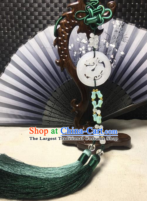 Traditional Chinese Hanfu White Jade Carving Dragon Waist Accessories Palace Green Tassel Pendant Ancient Swordsman Brooch