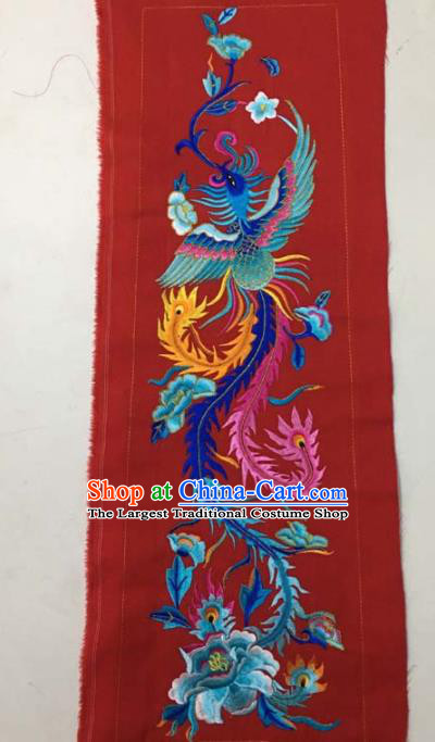 Chinese Traditional Embroidery Cloth Accessories National Embroidered Phoenix Peony Red Dress Patch