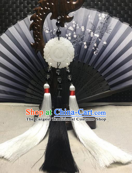 Traditional Chinese Hanfu White Jade Carving Waist Accessories Palace Tassel Pendant Ancient Swordsman Brooch