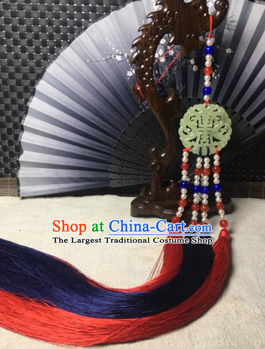 Traditional Chinese Hanfu Jade Carving Waist Accessories Palace Pearls Tassel Pendant Ancient Swordsman Brooch