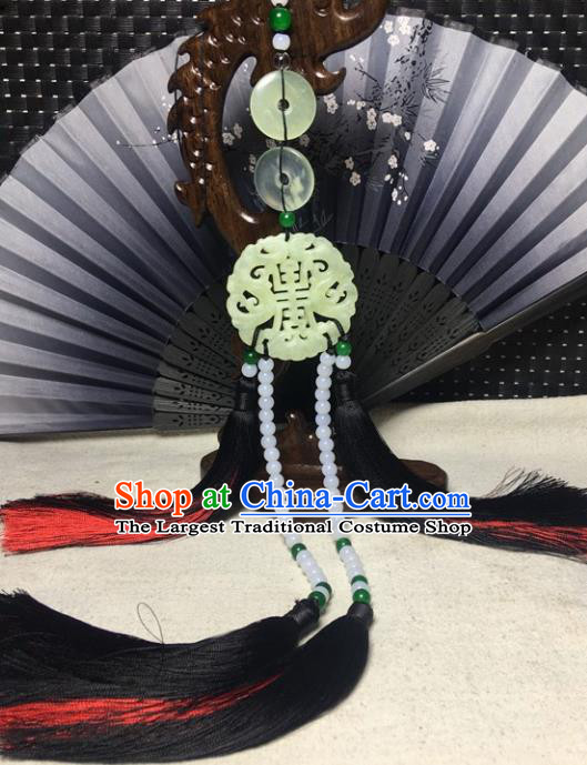 Traditional Chinese Hanfu Jade Carving Waist Accessories Palace White Beads Tassel Pendant Ancient Swordsman Brooch