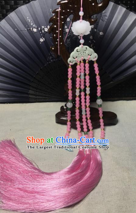 Traditional Chinese Hanfu Jade Carving Butterfly Waist Accessories Palace Pink Beads Tassel Pendant Ancient Swordsman Brooch