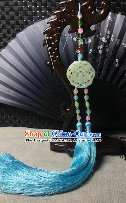 Traditional Chinese Hanfu Jade Carving Bat Waist Accessories Palace Blue Tassel Pendant Ancient Swordsman Brooch