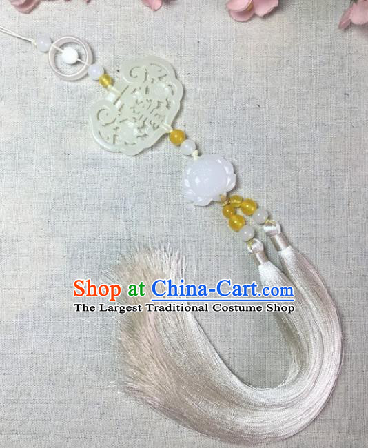 Traditional Chinese Hanfu Jade Carving Lock Lotus Waist Accessories Palace Tassel Pendant Ancient Swordsman Brooch