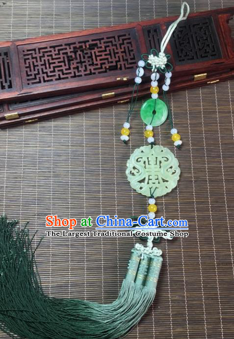 Traditional Chinese Hanfu Jade Carving Dragons Waist Accessories Palace Tassel Pendant Ancient Swordsman Brooch