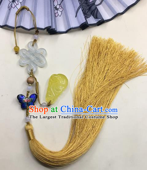 Traditional Chinese Hanfu Jade Carving Knot Waist Accessories Palace Yellow Tassel Pendant Ancient Swordsman Brooch