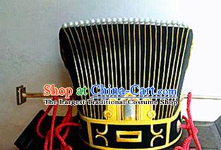 Chinese Traditional Handmade Qin Dynasty Minister Hat Ancient Drama Emperor Headwear for Men