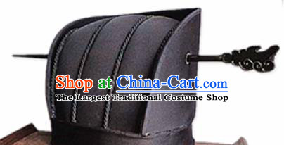 Chinese Traditional Handmade Qin Dynasty Minister Black Hat Ancient Drama Headwear for Men