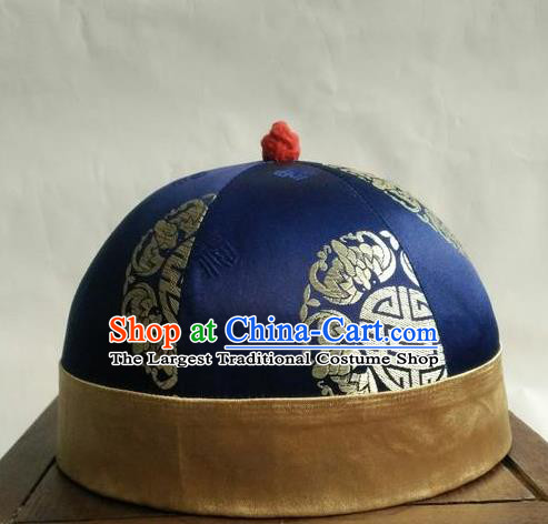 Chinese Traditional Handmade Qing Dynasty Prince Navy Hat Ancient Drama Nobility Childe Headwear for Men