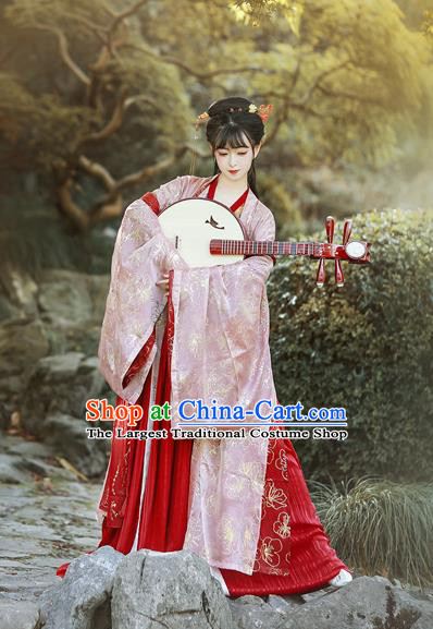Traditional Chinese Tang Dynasty Palace Replica Costumes Ancient Court Princess Red Hanfu Dress for Women