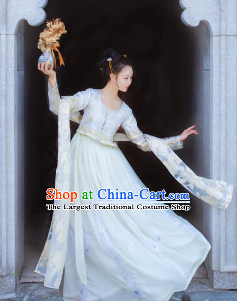 Traditional Chinese Tang Dynasty Court Lady Replica Costumes Ancient Palace Princess White Hanfu Dress for Women