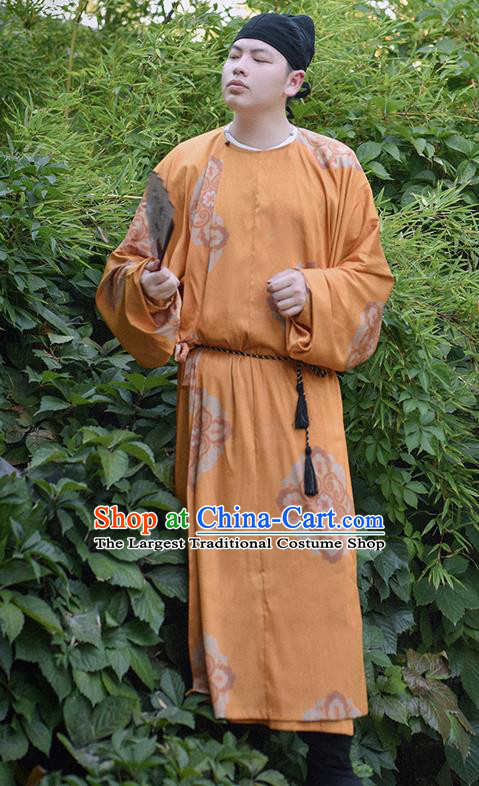 Traditional Chinese Tang Dynasty Imperial Bodyguard Merchant Replica Costumes Ancient Civilian Orange Robe for Men