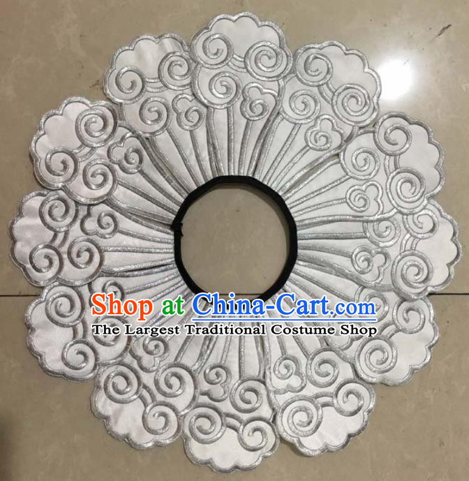 Chinese Traditional Embroidery Shoulder Accessories National White Embroidered Cloud Patch