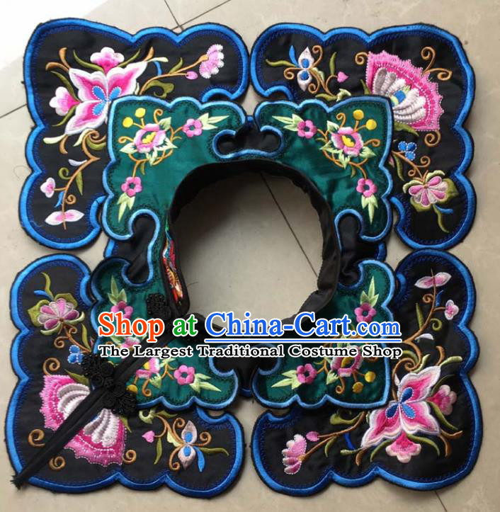Chinese Traditional Embroidery Butterfly Black Shoulder Accessories National Embroidered Cloud Patch