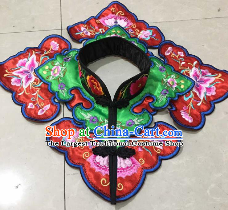 Chinese Traditional Embroidery Butterfly Green Shoulder Accessories National Embroidered Cloud Patch