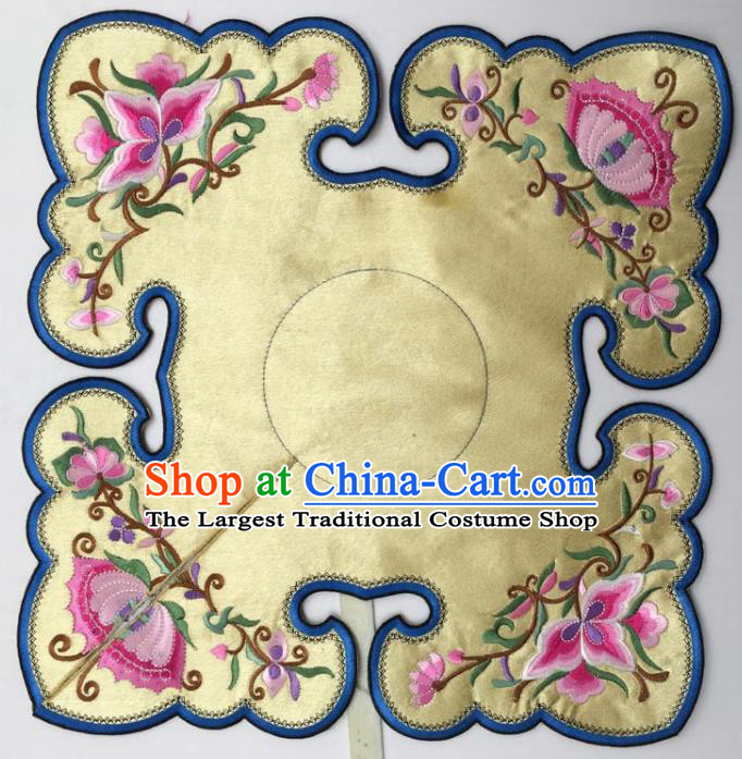 Chinese Traditional Embroidery Flowers Golden Shoulder Accessories National Embroidered Cloud Patch