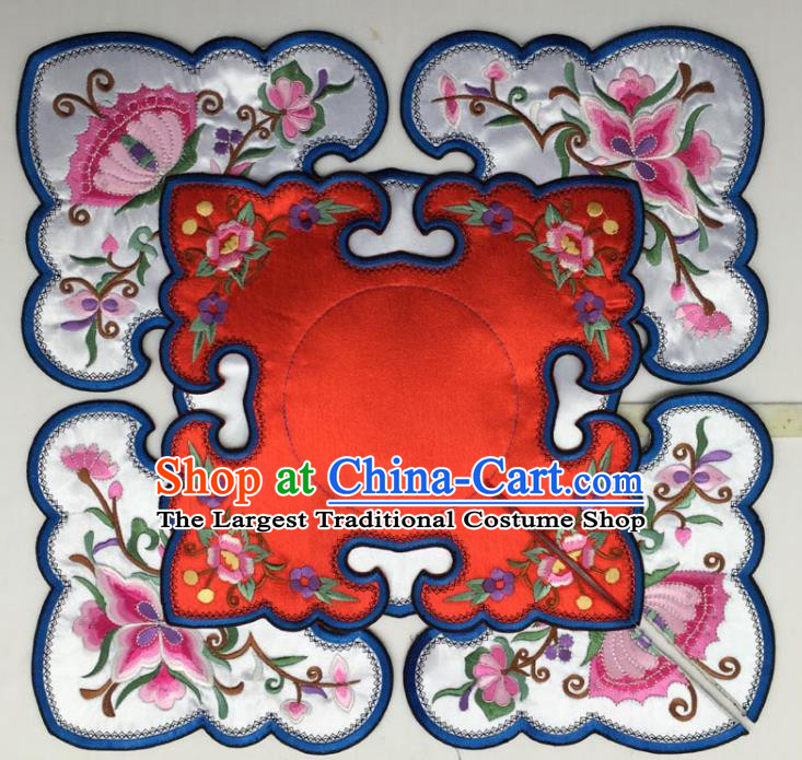 Chinese Traditional Embroidery Flowers Red and White Shoulder Accessories National Embroidered Cloud Patch