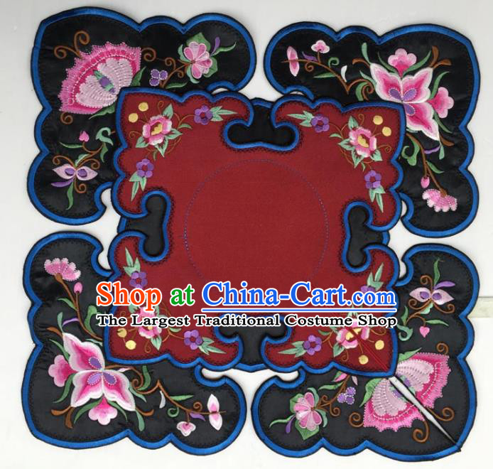Chinese Traditional Embroidery Flowers Dark Red and Black Shoulder Accessories National Embroidered Cloud Patch