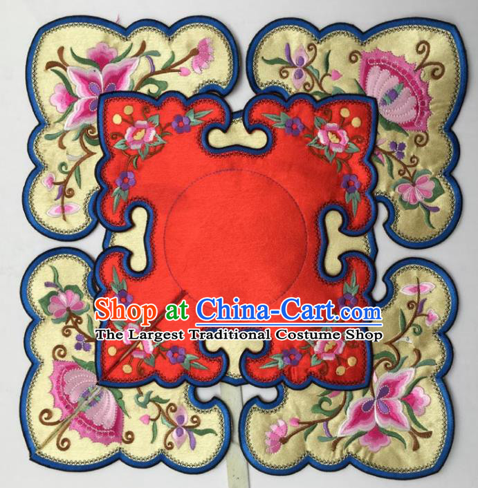 Chinese Traditional Embroidery Flowers Red and Yellow Shoulder Accessories National Embroidered Cloud Patch