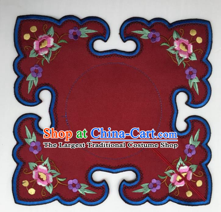 Chinese Traditional Embroidery Flowers Wine Red Shoulder Accessories National Embroidered Cloud Patch