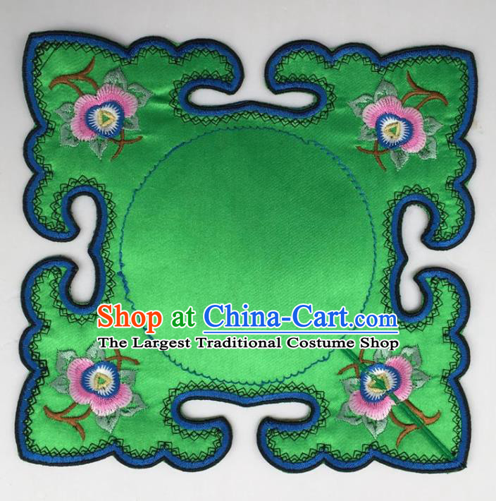 Chinese Traditional Embroidery Peony Green Shoulder Accessories National Embroidered Cloud Patch