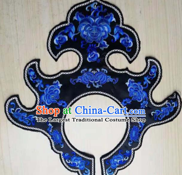 Chinese Traditional Embroidery Peony Black Collar Shoulder Accessories National Embroidered Cloud Patch