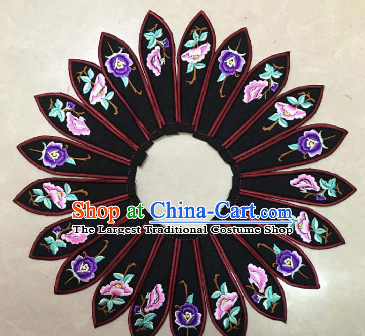 Chinese Traditional Embroidery Peony Black Collar Shoulder Accessories National Embroidered Patch