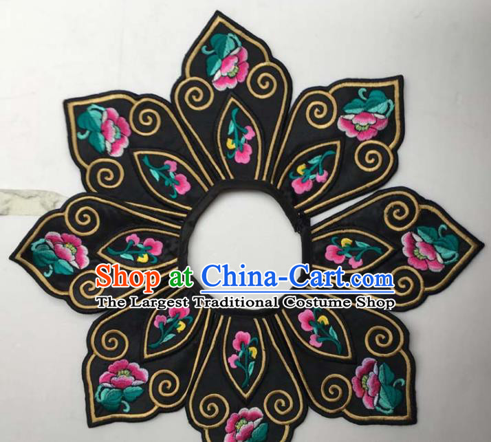 Chinese Traditional Embroidery Peony Flowers Collar Shoulder Accessories National Embroidered Patch