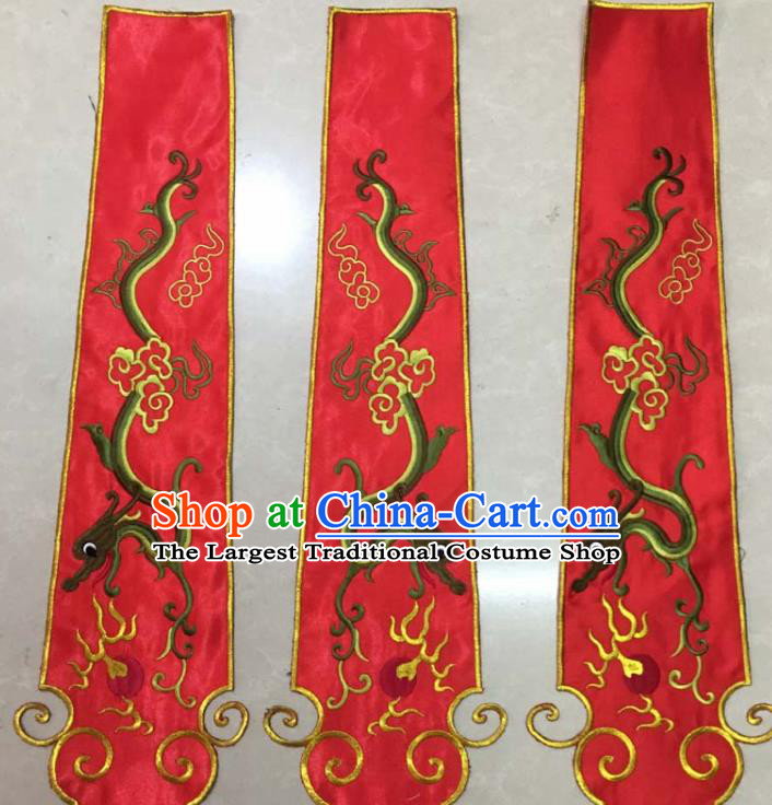 Chinese Traditional National Embroidered Cloud Dragon Red Applique Dress Patch Embroidery Cloth Accessories