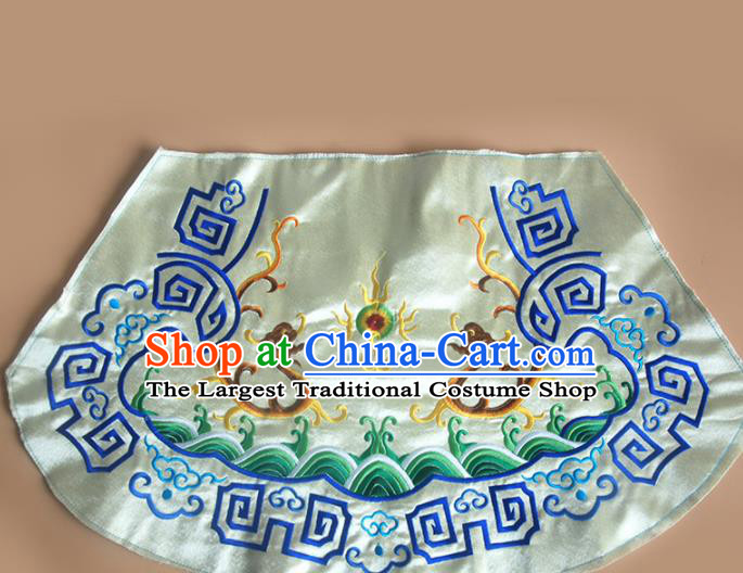 Chinese Traditional Embroidered Double Dragons Yellow Applique National Dress Patch Embroidery Cloth Accessories