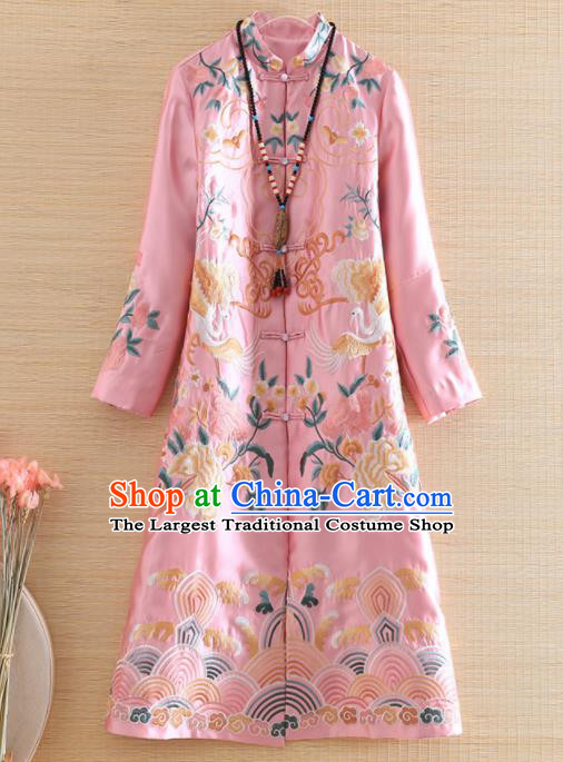 Chinese Traditional Tang Suit Embroidered Pink Coat National Costume Qipao Outer Garment for Women