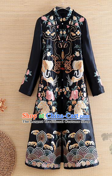 Chinese Traditional Tang Suit Embroidered Black Coat National Costume Qipao Outer Garment for Women