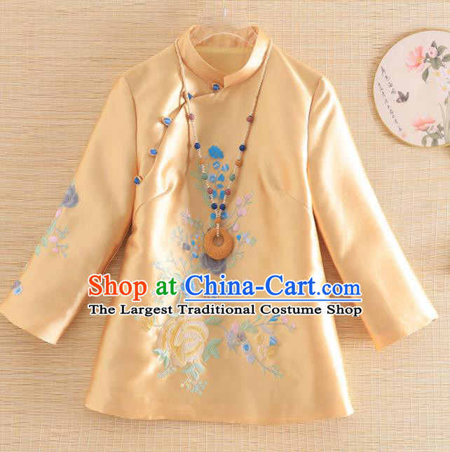 Chinese Traditional Tang Suit Embroidered Yellow Blouse National Costume Qipao Outer Garment for Women