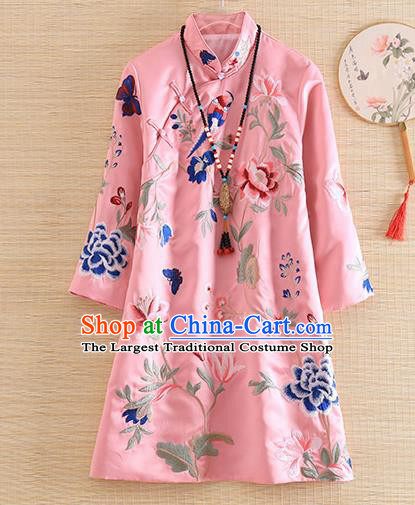 Chinese Traditional Tang Suit Embroidered Peony Pink Blouse National Costume Qipao Upper Outer Garment for Women